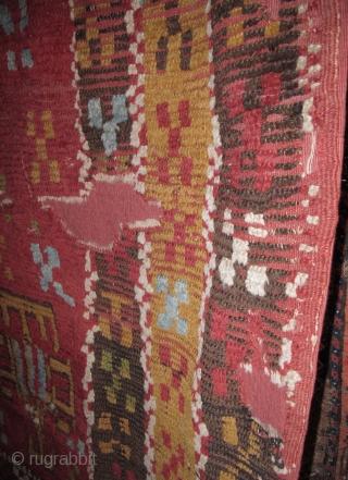 "Anatolian Yatak . old, bold, graphic, backed and conserved. 58""x73"""