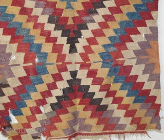 """Turkish eye-dazzler Kilim, perhaps western Anatolian or Monastir. Complete piece with purple, green, two oranges, red and yellow. (46""""x82"""" 117x208cm)"""
