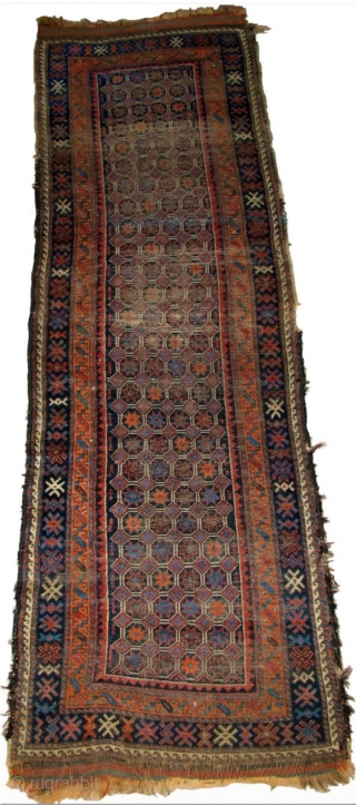 "Baluch Runner, great natural colors, woven like a giant long bagface with a repeat mosaic like pattern of eight-pointed stars in a lattice. ""Arab"" type, open right, with corroded deep indigo almost  ..."