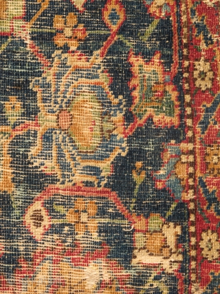 """Isfahan Carpet, Safavid era, first half 17th century, silk and cotton warp, cotton weft, lac red ground, fine weave, cut and shut, scattered old repair and damage, still majestic. size= 4'8""""x6'  Note  ..."""