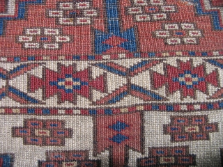 Kizyl Ayak or Choob Bash Turkmen Main Carpet. Small format with compartments and Ertmen gul variants. Nicely drawn animal protomes in several colors. Fine weave, complete but with areas of wear and  ...