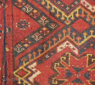 """Middle Amu Darya / Bashir Chuval . Ikat with Blossoms. 5'1"""" x 3'. Generally good condition with some scattered wear. sides have been re-selvedged."""