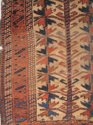 Camel Ground Baluch Rug with Trees, small size, great drawing, perhaps a bit more curvilinear than most with a bite nibbled out of the bottom kilim, a few repaired slashes. Nice abrash.  ...