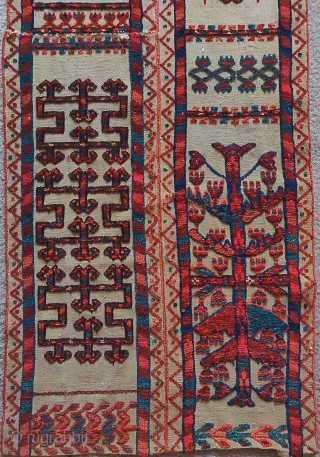 """Tekke Turkmen tent band fragments. Very nice color, a little bit of silk. Available as a pair or individualy.  Size= 8.5""""x68"""" each"""