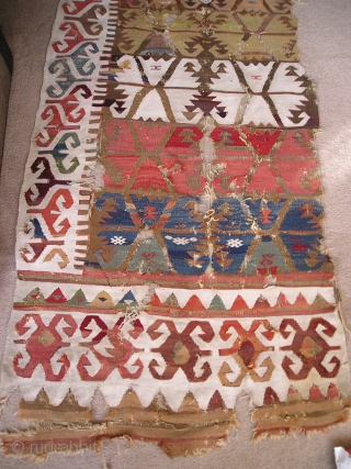 Anatolian Kilim Half, many colors, much wear, cotton and wool white, 4 browns (dyed and natural) madder reds, insect red, 2 pinks, apricot,at least 2 oranges, bold yellows, pistachio green, true green,  ...