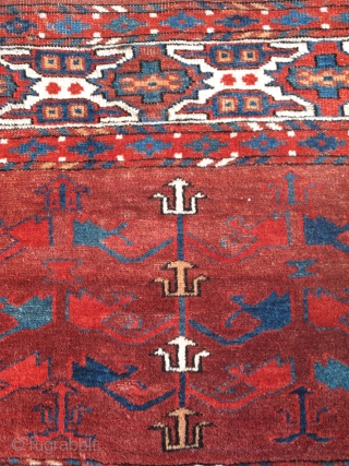 These fragments are the two elem panels of what must have been a great and early Abdal,  Yomut sub-group main carpet. Fantastic color and sophisticated almost curvilinear drawing.