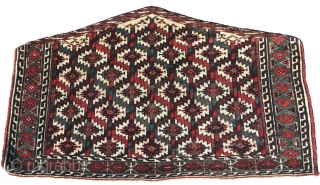 Yomut or perhaps 'P-Chodor' Turkmen Asmalyk camel trapping. Very idiosyncratic palette with a deep aubergine and blue-green.