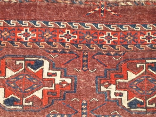 Yomut Turkmen Chuval, Bold, beautifully drawn guls, delicate minors, symmetrically knotted with wool and cotton wefting. Great handle and back. some condition issues.