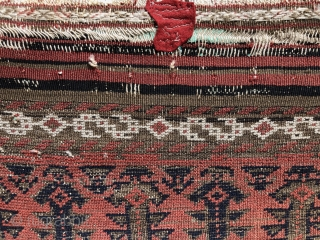 "Rare red ground, Baluch, 19th century. 4'.5"" x 2'.9""