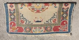 Rare Antique square Tibetan Silk rug, 79cm x 80cm, nice price $1111, UPS shipping on me.