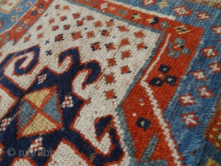 european.estate.interiors: 1870's SKYBLUE SNOWFLAKE SEWAN KAZAK  5' 2 x 7' 2     /    161 x 222 cm  Direct Contact Info: Bernard Zarnegin Interiors, Seestrasse 43, 8001  ...