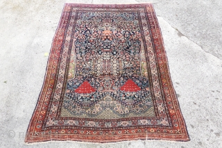 Antique unique Farahan prayer rug made of the softest kork wool, 143cm x 200cm, $ 2500