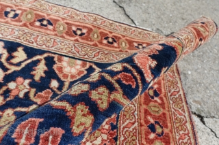 Antique 19 C. Heriz Small Rug $1 starting Ebay Auction, Online Bidding:   http://www.ebay.com/itm/bernard-switzerland-ANTIQUE-1890-039-s-UNIQUE-FUNKY-SERAPI-HERIZ-RUG-2-039-9-x-4-039-4-/382171068590?ssPageName=STRK:MESE:IT    Antique 19 C. Heriz Small Rug with the most amazing colors, age and condition ever, NAVY BLUE it is