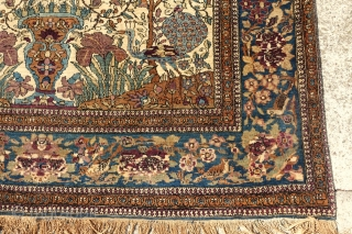 ANTIQUE KESHAN MOHTASHEM FINE RUG WITH PICTORIAL ANIMALS, 1880'