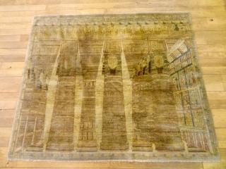 ANTIQUE LOT NO. 1907 : ORIGINAL 1880's PICTORIAL HADJALILI TABRIZ PHARAO'S PALACE      $ 1500