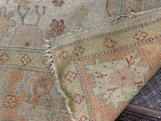 """Antique Oushak rug 6'11"""" by 9'4""""  As found. Nice colors and example $1,950 SOLD"""
