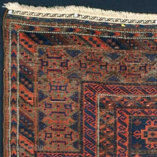 Baluch Blue Ground Prayer Rug 19th Century wool with silk highlights 47 1/2 x 33 inches approximately 126 KPSI inventory #1450