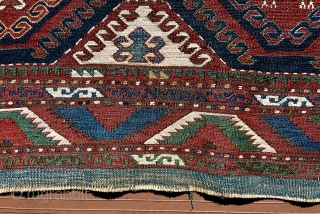 """Shahsavan sumac mafrash side panel.  38"""" x 20"""" (96 cm x 51 cm).  Finer weave than most.  Two old domestic repairs of small holes—darned with blue wool yarn.   ..."""