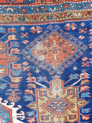 "Karadja  -about 7'4"" x 10'7"".  Nice color and drawing.  Scattered wear throughout and slight mothing one corner (see picture) easily repaired.  Very decorative carpet and complete with original  ..."