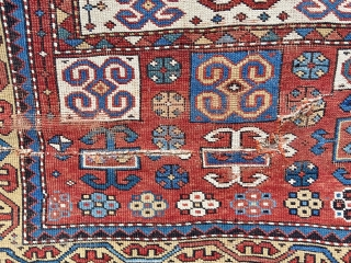 """Kazak prayer rug - about 3''6"""" x 4'10"""". Great format, color and weave but not without wear, tear and crude repair (inc duct tape)."""