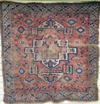 "Bergama - about 65"" x 65"".  Lots of wear but still nice example of early rug."