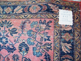 Sarouk mat 2.11 x 2. webbing at both ends, sides original.  good pile except one side edge with even wear. slight staining.  wash/painted type.  needs cleaning.  $165/BO plus  ...