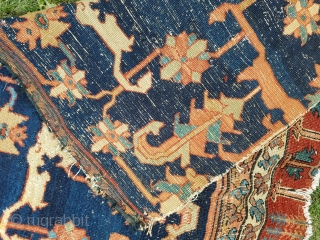 """Serapi fragment - measures about 35"""" x 63"""".  Border section of gigantic proportions with great color saturation."""