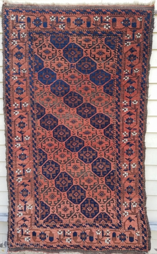Baluch - about 3.2 x 5.4.  In tact with partial kilim ends.