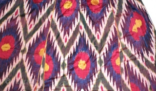Antique 19th century Uzbek silk on silk Ikat Robe. Beautiful natural colours and design. Good condition.