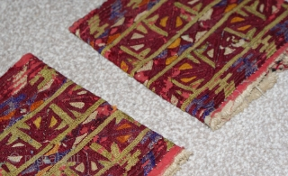 Antique 19th century Turkmen silk embroidery on cotton, cuffs, very fine stitches and colours. Very reasonable price.