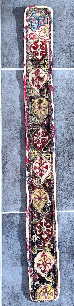 Beautiful early 19th century Uzbek Sharisabz region Belt. Excellent natural colours and cross stitches. spectacular block print backing. The size is 95cm by 15cm  Offered reasonable price.