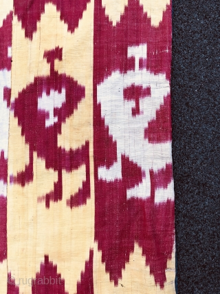 Beautiful 19th century Uzbek Buckharan Region Adras Ikat panel. ( silk wrap, cotton weft). Excellent veg dyes colours and bodam gul design( Almond pattern). Good condition. The size is 118cm by 185cm.  ...