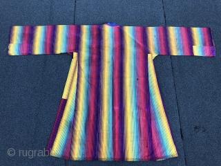 Beautiful Antique Uzbek Ikat adras (silk wrap/ cotton weft) dress, excellent natural colours. Offered reasonable price.