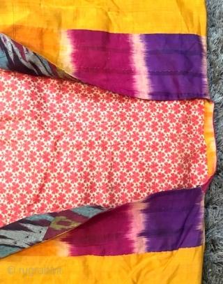 Antique Early 20th century Uzbek Hisari Adras Ikat robe (geometric pattern, design) silk on cotton.  Excellent natural colours.