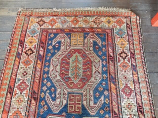ANTIQUE KAZAK - EXCELLENT PILE - 3 MINOR SEWING REPAIRS - 4 X 8 FT SIZE- BOTH ENDS SECURED AS SHOWN - NEEDS A GOOD WASH 