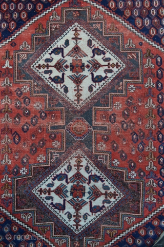 Acquired today from an old English country house, and as found, this lovely old but worn Afshar rug, still oozes a lot of charm.