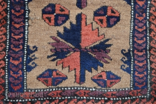 Found today in an old English country house, a Baluch balisht, minus back, in full pile and with a nice open depiction of the 'tree' pattern.
