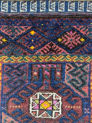 """Unusual Timuri prayer-rug with glowing shades of indigo-blue, green and aubergine with highlights of silk and yellow-cotton throughout - circa 1900 and excellent condition.  1.27m x 0.81m (4' 2"""" x 2' 8"""")."""