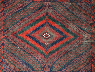 "19th century Mushwanni carpet 2.77m x 1.33m (9' 0"" x 4' 4""), Sistan Province, south-east Persia, with magnificent vegetable colours. Very good overall condition bar some corrosive mordant wear right of upper  ..."