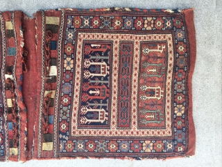 "A complete pair of double Kamseh Sumak bags measuring 2'1"" x 4''5"" from the 3rd quarter of the 19th century in excellent condition. The bird motifs and central panel is further enhanced  ..."