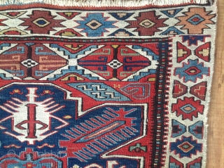 19th century Sumak Bag Face, bold design, finally woven, excellent condition with clear saturated colors. 