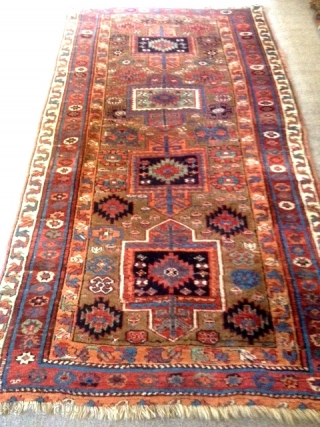 "19th century Sauj Bulagh carpet (classically red wefted), 90"" x 40"" : Full pile with a few localized areas of reweave, small area pulled together likely to take out a bump (shown  ..."