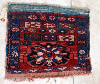Knotted Kurdish Bijar mafrash end panel. Approx. 50 x 40 cm.