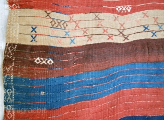 "Complete antique Tulu South Anatolia, circa 1900, 105 x 316 cm (3'4"" x 10'7""). A few very small holes + small repair to end braid (see details), very good condition in general.  ..."