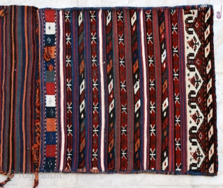 "Antique Varamin (Veramin) complete saddle-bags, early 20th. 59 x 140 cm. 2' x 4'8"". Excellent condition and palette. All wool. Very fine workmanship."