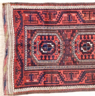 "Antique plum ground Baluch, 87 x 162 cm (1'11"" x 5'5"") incl.end kilims. 2 quite small good repairs, browns corrosion, good condition otherwise."