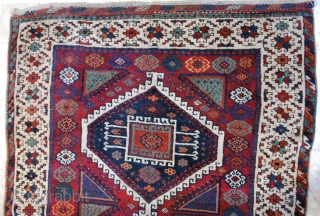 "East Anatolian, early 20th c. 123 x 210 (4""1' x 7'). Uneven corrosion of ground color. Small repiled areas, small reweave at upper end (braid), secured at lower. Original selvages."
