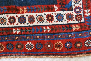 Luri rug, 1st quarter 20th c, 110 x 192 cm. Small repiled spots in field, slight wear to center, otherwise high pile in general with original sides. Wool on goat hair.