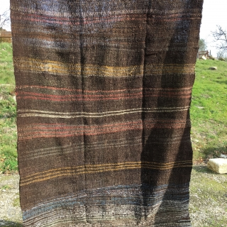 Goat hair kilim. Cm 140x240 ca. Goat hair with some colorful wool and cotton weft addendum. Eastern Anatolia. Minimalistic textile tribal art. Early to mid 20th c. Mainly used to build the  ...
