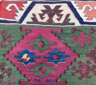 "Kilim fragment with fantastic colors. Cm 70x86 ca. East Anatolia. ""2nd half 19th c."